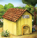 Yellow dog house illustration image has attached release Royalty Free Stock Photos