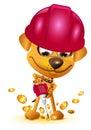 Yellow dog miner mining bitcoin gold coin Royalty Free Stock Photo