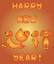 Yellow dogs in new year's card
