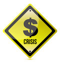Yellow dollar crisis sign illustration design Royalty Free Stock Images
