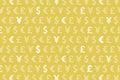 Yellow Dollar Euro Yen Pound Currencies Pattern Background