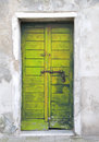 Yellow door in the island of giudecca in venice Stock Photos