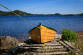 Yellow dory wooden on land Stock Photos