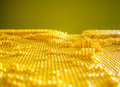 Yellow dotted pane from the plastic pin toy selective focus Royalty Free Stock Photo