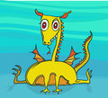 Yellow dragon simple drawing of friendly Royalty Free Stock Photography