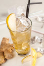 Yellow drink with pears and ginger Stock Photo