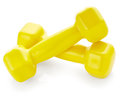 Yellow dumbbells Royalty Free Stock Photo