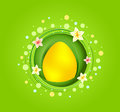 Yellow easter egg with spring element card Stock Photography