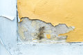 Yellow erode painted concrete wall grunge rough texture backgrou background Royalty Free Stock Images