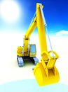 Yellow excavator isolated white Stock Photography