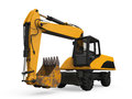 Yellow excavator isolated on white background d render Stock Photos