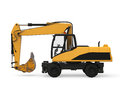 Yellow excavator isolated on white background d render Royalty Free Stock Images