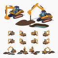Yellow excavator special machinery d lowpoly isometric vector illustration the set of objects isolated against the white Stock Image