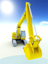 Yellow excavator white Royalty Free Stock Photography