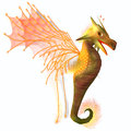 Yellow faerie dragon a creature of myth and fantasy the is a friendly animal with horns and wings Royalty Free Stock Photography
