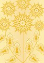 Yellow fantasy flower on light yellow background, line art illustration, template for poster, invitation, congratulation