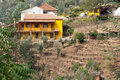 Yellow farm house Royalty Free Stock Image