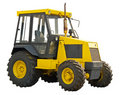 Yellow farm  tractor Stock Photo