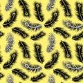 Yellow Feathers Seamless Pattern Design