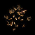 Yellow fireworks on black background Royalty Free Stock Photo