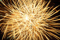 Yellow fireworks burst Royalty Free Stock Photo