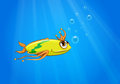 A yellow fish swimming under the sea illustration of Royalty Free Stock Images