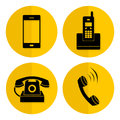 Yellow flat style telephone icons. Circle buttons Royalty Free Stock Photo