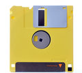Yellow floppy disk isolated on white Royalty Free Stock Photo