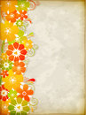 Yellow floral background vector vintage with flowers Stock Photo