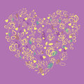 Yellow floral heart with drawing effect