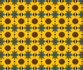 Yellow flower metal background a easily overlapped to increase the size of the pattern Stock Image