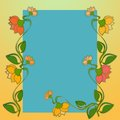 Yellow flower vine background highly colored with turquoise red orange and green pattern Stock Image