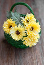 Yellow flowers in a basket Royalty Free Stock Image