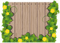 Yellow flowers and wooden fence Royalty Free Stock Photo
