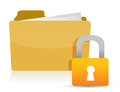 Yellow folder and lock Stock Photography