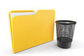 Yellow folder trash bin white background Royalty Free Stock Photography