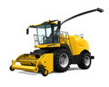 Yellow forage harvester isolated on white background d render Stock Photo