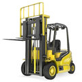 Yellow fork lift truck with raised fork Royalty Free Stock Photos