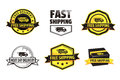 Yellow free shipping badges and black modern fast and next day delivery using a truck icon and a box shape Royalty Free Stock Images