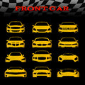 Yellow front body car and Checkered flags vector set design Royalty Free Stock Photo
