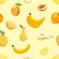 Yellow fruits seamless pattern over white background Royalty Free Stock Photo