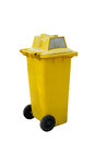Yellow garbage bins isolated white background Royalty Free Stock Photo