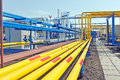 Yellow gas pipes Royalty Free Stock Photo