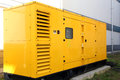 Yellow generator industry background electric equipment Royalty Free Stock Photo