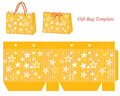 Yellow gift bag template with stars Royalty Free Stock Photo