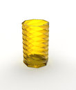 Yellow glass vase with shadow on white Royalty Free Stock Photography