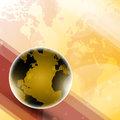 Yellow globe background on a bright with world map Royalty Free Stock Photo