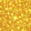 Yellow glowing background with paper streamer and soft bokeh.Vector elements can be used as backdrop to your design