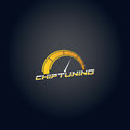 Car chip tuning logo yellow gradient vector design Royalty Free Stock Photo