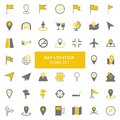 Yellow and gray map location icon set